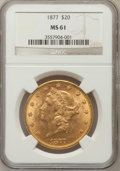 Liberty Double Eagles: , 1877 $20 MS61 NGC. NGC Census: (271/152). PCGS Population(181/140). Mintage: 397,670. Numismedia Wsl. Price for problemfr...