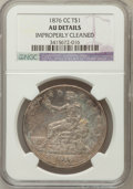 Trade Dollars: , 1876-CC T$1 -- Improperly Cleaned -- NGC Details. AU. NGC Census:(3/97). PCGS Population (12/71). Mintage: 509,000. Numism...