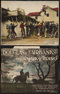 "The Mark of Zorro (United Artists, 1920). Trimmed Title Lobby Card & Lobby Card (10"" X 13""). Swashbuck..."