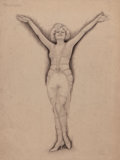 Pin-up and Glamour Art, CHARLES GATES SHELDON (American, 1889-1960). Mary Lewis.Charcoal pencil on board. 23.5 x 18 in.. Signed lower right. ...