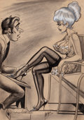 "Pin-up and Glamour Art, BILL WARD (American, 1919-1998). ""Oh, No...Please Miss...You'reNot Going to Buy the First Pair You Try On!"", 1965. Char..."