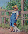 Mainstream Illustration, AMERICAN ARTIST (20th Century). A Promising Crop, magazine storyillustration, 1934. Oil on board. 24 x 18 in.. Signed i...(Total: 2 Items)