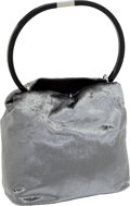 Luxury Accessories:Bags, Heritage Vintage: Gucci Silver Crushed Velvet Evening Bag with Black Lucite Handle . ...