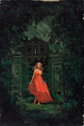 Pulp, Pulp-like, Digests, and Paperback Art, JOEL MALMED (American, 20th Century). Woman in Red in Front ofErie House, paperback cover. Gouache on board. 30 x 20 in...