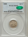 Three Cent Nickels: , 1888 3CN MS65 PCGS. CAC. PCGS Population (69/87). NGC Census:(64/44). Mintage: 36,500. Numismedia Wsl. Price for problem f...