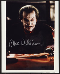 "Jack Nicholson in Batman (Warner Brothers, 1989). Autographed Photo (8"" X 10""). Action"