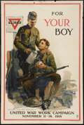 "Movie Posters:War, World War I Propaganda (Committee on Public Information, 1918).Poster (20"" X 30""). ""For Your Boy."" War.. ..."
