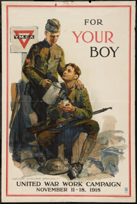 """World War I Propaganda (Committee on Public Information, 1918). Poster (20"""" X 30""""). """"For Your Boy.""""..."""