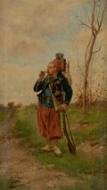 Fine Art - Painting, European:Other , PAUL LOUIS NARCISSE GROLLERON (French, 1848-1901). FrenchSoldier Smoking. Oil on wood panel. 18 x 10 inches (45.7 x25....