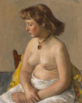 Fine Art - Painting, American:Contemporary   (1950 to present)  , ROBERT PHILIPP (American, 1895-1981). Seated Nude, 1950. Oilon canvas. 20 x 16 inches (50.8 x 40.6 cm). Signed upper ri...
