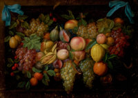 DI STEFANO (Italian, 20th Century) Still Life with Fruit Oil on canvas 11-3/4 x 16-1/4 inches (29