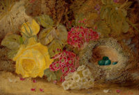 OLIVER CLARE (British, 1843-1927) Still Life with Flowers and Bird's Nest Oil on canvas 7 x 10 i