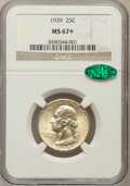 Washington Quarters, 1939 25C MS67+ NGC. CAC. NGC Census: (238/3). PCGS Population(227/3). Mintage: 33,548,796. Numismedia Wsl. Price for probl...