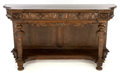 Furniture , A VICTORIAN MAHOGANY CONSOLE TABLE . Circa 1890. 39-1/2 inches high x 74-1/2 inches wide x 24 inches deep (100.3 x 189.2 x 6...