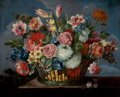Fine Art - Painting, European, Manner of JAN VAN DEN HECKE (Flemish, 1620-1684). Still Life with a Basket of Flowers. Oil on canvas. 21 x 25 inches (53...