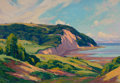 Fine Art - Painting, American:Modern  (1900 1949)  , ELIOT CANDEE CLARK (American, 1883-1980). Sea Cliff Landscape,Nova Scotia. Oil on canvas. 14-1/4 x 20 inches (36.2 x 50...