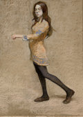 Fine Art - Painting, American:Contemporary   (1950 to present)  , HARVEY DINNERSTEIN (American, b. 1928). Rachel Walking, 1968. Pastel on board. 26 x 19 inches (66.0 x 48.3 cm). Signed a...