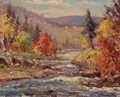 Fine Art - Painting, American:Contemporary   (1950 to present)  , JOSEPH GUINTA (American, 1911-2001). Autumn Landscape. Oilon masonite. 8 x 10 inches (20.3 x 25.4 cm). Signed lower rig...