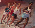 Mainstream Illustration, ARTHUR SARON SARNOFF (American, 1912-2000). Indoor Mile. Oilon masonite. 24 x 30 in.. Signed lower right. From the ...