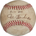 Autographs:Baseballs, Tom Henke Single Signed Save #210 Game Used Baseball. ...