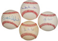 Autographs:Baseballs, Baseball Legends Single Signed Balls Lot Of 4....