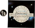 """Memorabilia:Science Fiction, Star Wars 10th Anniversary """"R2-D2 and C-3PO"""" Sterling Silver Limited Edition Coin #2118 (Rarities/Lucasfilm Ltd., 1988)...."""