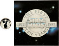 "Memorabilia:Science Fiction, Star Wars 10th Anniversary ""Darth Vader vs. Obiwan Kenobi"" Sterling Silver Limited Edition Coin #147 (Rarities/Lucasfilm Ltd.,..."