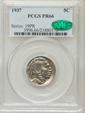 Proof Buffalo Nickels: , 1937 5C PR66 PCGS. CAC. PCGS Population (745/407). NGC Census:(480/357). Mintage: 5,769. Numismedia Wsl. Price for problem...
