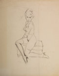 Pin-up and Glamour Art, Attributed to FRITZ WILLIS (American, 1907-1979). Pin-Up on aBench. Pencil on tracing paper. 17 x 14 in.. Not signed. ...