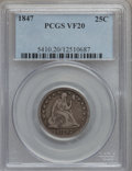 Seated Quarters: , 1847 25C VF20 PCGS. PCGS Population (3/67). NGC Census: (0/55).Mintage: 734,000. Numismedia Wsl. Price for problem free NG...