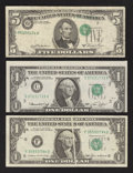 Error Notes:Error Group Lots, Fr. 1908-C $1 1974 Federal Reserve Note. Crisp Uncirculated;. Fr.1913-F $1 1985 Federal Reserve Note. Very Fine;. Fr. 1976-G ...(Total: 3 notes)