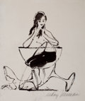 Pin-up and Glamour Art, LEROY NEIMAN (American, b. 1926). Femlin in a Champagne Glass,Playboy illustration. Ink on paper. 13.75 x 10.75 in.. Si...