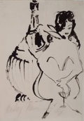 Pin-up and Glamour Art, LEROY NEIMAN (American, b. 1926). Femlin with Martini Glass,Playboy illustration, 1958. Ink on paper. 9 x 6.5 in.. Sign...