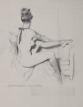 Pin-up and Glamour Art, Attributed to FRITZ WILLIS (American, 1907-1979). SeatedBallerina, preliminary work. Pencil on tracing paper. 17 x 14i...