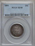 Seated Quarters: , 1891 25C XF40 PCGS. PCGS Population (7/616). NGC Census: (2/566).Mintage: 3,920,600. Numismedia Wsl. Price for problem fre...