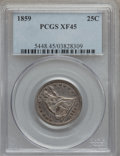 Seated Quarters: , 1859 25C XF45 PCGS. PCGS Population (26/94). NGC Census: (3/93).Mintage: 1,344,000. Numismedia Wsl. Price for problem free...