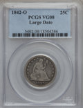 Seated Quarters: , 1842-O 25C Large Date VG8 PCGS. PCGS Population (2/74). NGC Census:(0/21). Mintage: 769,000. Numismedia Wsl. Price for pro...