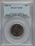 Seated Quarters: , 1857-O 25C VG8 PCGS. PCGS Population (3/94). NGC Census: (0/61).Mintage: 1,180,000. Numismedia Wsl. Price for problem free...