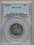 Seated Quarters: , 1858-O 25C Fine 15 PCGS. PCGS Population (1/59). NGC Census:(0/36). Mintage: 520,000. Numismedia Wsl. Price for problem fr...