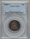 Seated Quarters: , 1858-O 25C VF35 PCGS. PCGS Population (6/49). NGC Census: (1/35).Mintage: 520,000. Numismedia Wsl. Price for problem free ...
