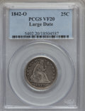 Seated Quarters: , 1842-O 25C Large Date VF20 PCGS. PCGS Population (2/64). NGCCensus: (0/21). Mintage: 769,000. Numismedia Wsl. Price for pr...