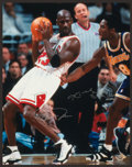 Basketball Collectibles:Photos, Kobe Bryant and Michael Jordan Multi Signed Oversized Photograph....