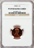 Proof Lincoln Cents: , 1990-S 1C PR69 Red Ultra Cameo NGC. NGC Census: (663/73). PCGSPopulation (3205/103). Numismedia Wsl. Price for problem fr...