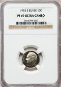 Proof Roosevelt Dimes: , 1993-S 10C Silver PR69 Ultra Cameo NGC. NGC Census: (708/109). PCGSPopulation (2216/130). Numismedia Wsl. Price for probl...