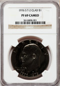 Proof Eisenhower Dollars: , 1976-S $1 Clad, Type Two PR69 Cameo NGC. NGC Census: (220/0). PCGSPopulation (59/0). Numismedia Wsl. Price for problem fr...