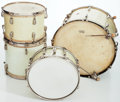 Musical Instruments:Drums & Percussion, Late 1930s/Early 1940s Slingerland White Marine Pearl Radio King4-Piece Drum Set....
