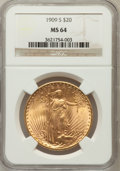 Saint-Gaudens Double Eagles: , 1909-S $20 MS64 NGC. NGC Census: (1347/230). PCGS Population(1762/296). Mintage: 2,774,925. Numismedia Wsl. Price for prob...