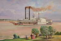 OSCAR EDWARD BERNINGHAUS (American, 1874-1952) The Steamer J.M. White Oil on canvas 24 x 36 inche