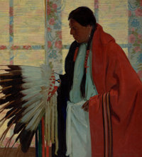 E. MARTIN HENNINGS (American, 1886-1956) The War Bonnet Oil on canvas 48-1/2 x 36 inches (123.2 x