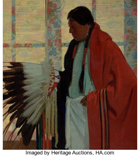 E. MARTIN HENNINGS (American, 1886-1956) The War Bonnet Oil on canvas 48-1/2 x 36 inches (123.2 x 91.4 cm) Signed lo...